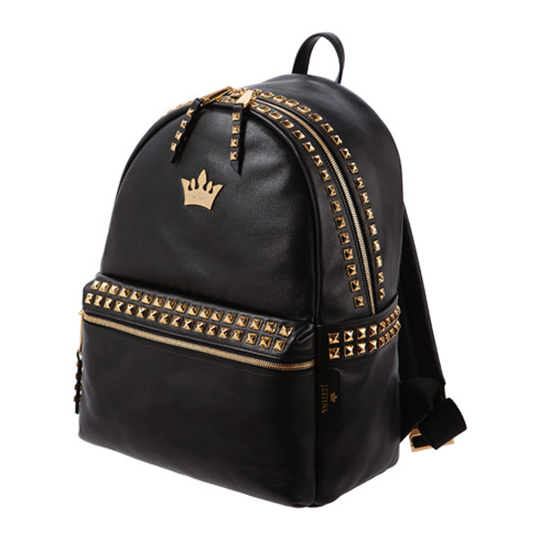 bag backpack crown black gold studs back to school j.estina