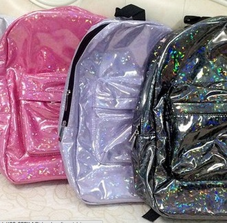 bag sparkle lilac pink holographic bag school bag