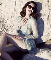 dress,lana del rey,cute sunglasses,cute,cute dress,sexy,celebrity style,cut-out dress