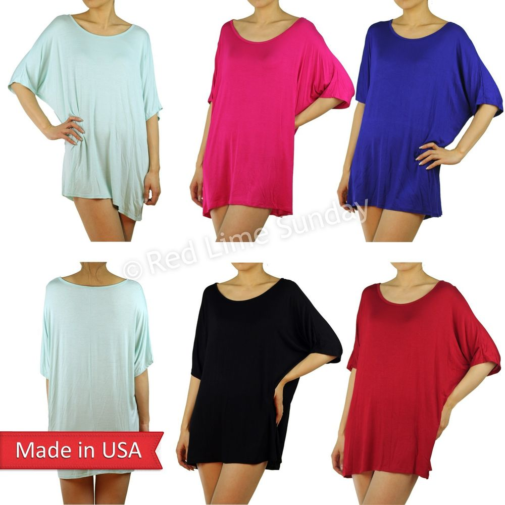 New Color Comfy Oversized Dolman Short Sleeve Pullover Tunic Shirt Top Dress USA