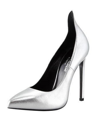 Saint Laurent Metallic Exaggerated-Heel Pump, Silver - Bergdorf Goodman