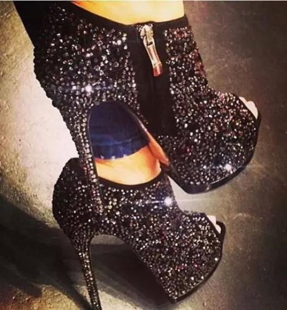 shoes high heels black heels diamonds crystal booties