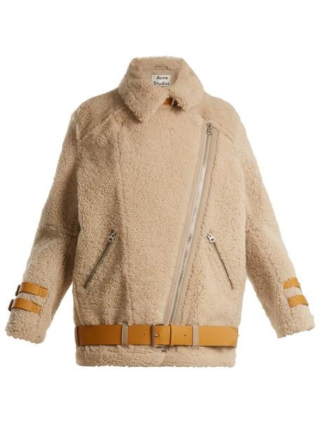 Acne Studios jacket shearling jacket cream
