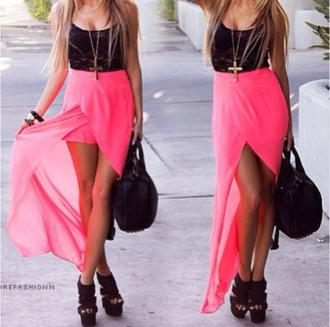 dress high-low dresses pink black lace skirt shirt girly
