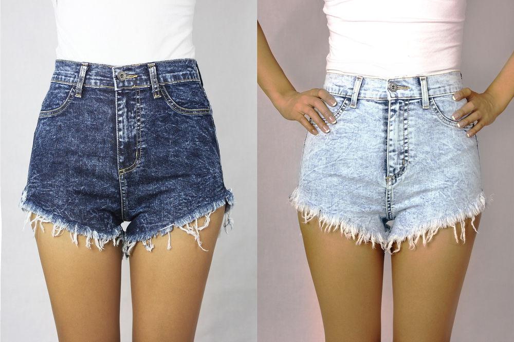 New Black Acid Stonewashed High Waist Denim Cut Off Jean Shorts SML USA | eBay