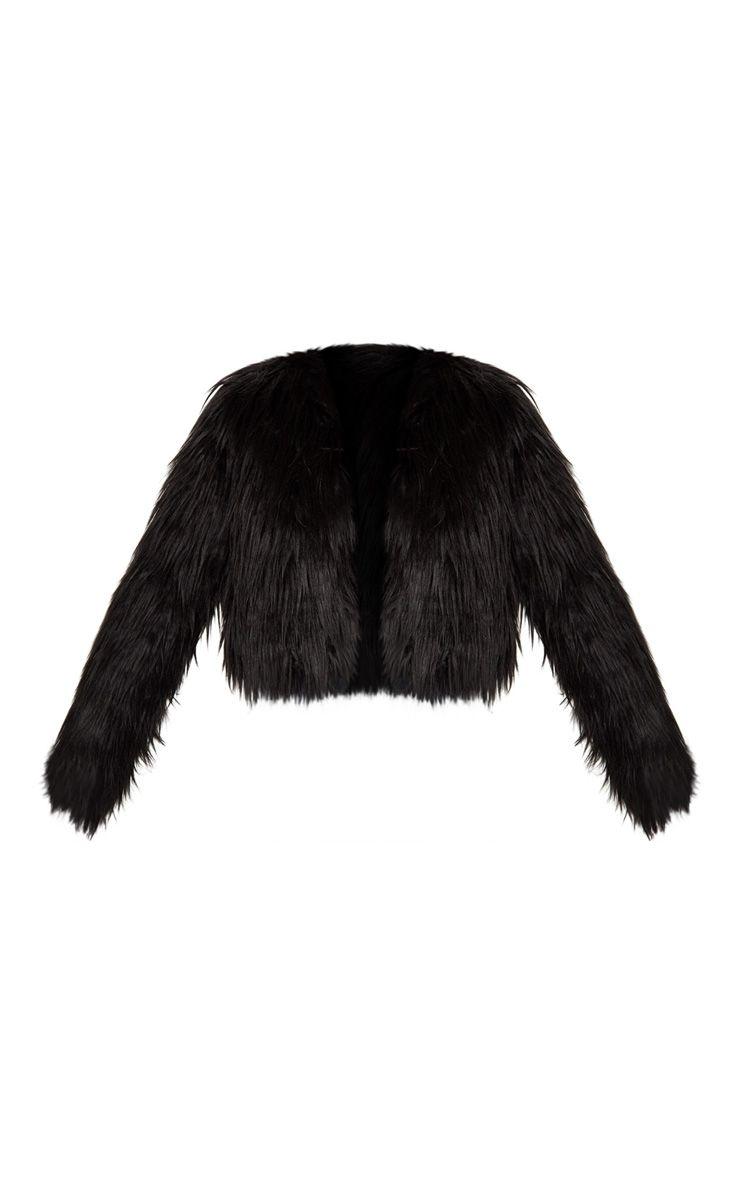 Liddie Black Faux Fur Shaggy Cropped Jacket