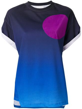 t-shirt shirt printed t-shirt women cotton blue top