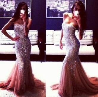 dress prom dress pink pink dress glitter dress long prom dress strapless dress long dress