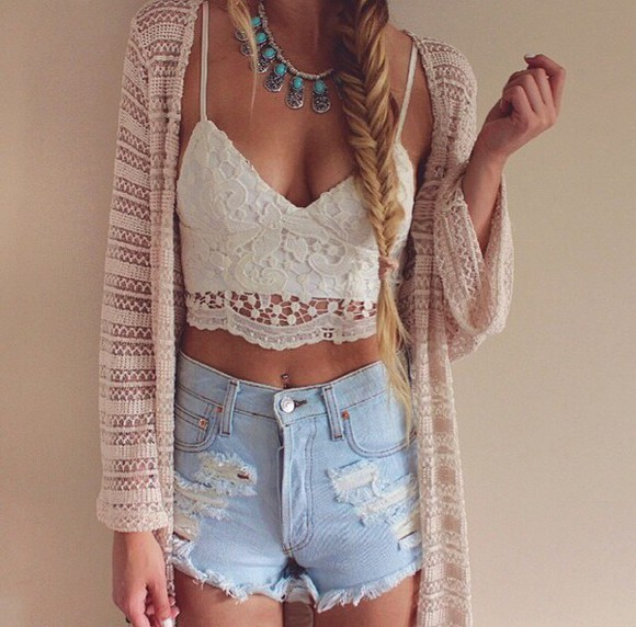 jewels silver jewelry necklace turquoise turquoise jewelry hippie boho top crop tops white white top white crop tops lace top lace up lace shorts High waisted shorts high waisted denim short denim shorts denim torn clothes cardigan jacket