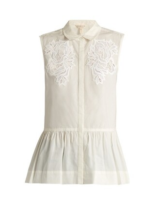 top sleeveless lace cotton white