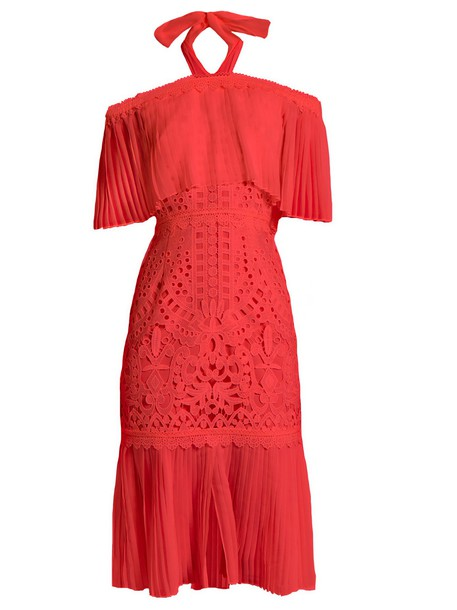 Temperley London dress lace coral