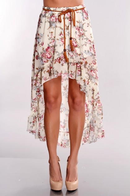 Floral High Low Hem Skirt @ Amiclubwear Clothing Skirts Online ...