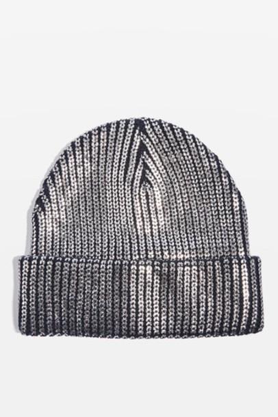 Topshop hat beanie silver