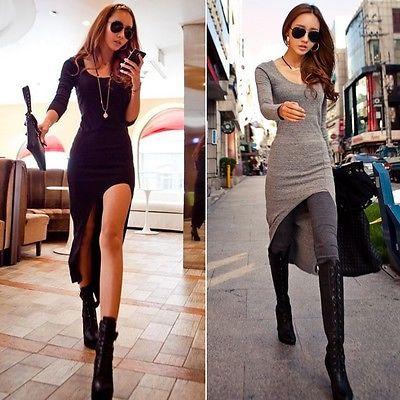 New Women Sexy Slim Split Irregular Clubwear Asymmetric Hem Maxi Long Dress-in Dresses from Apparel & Accessories on Aliexpress.com
