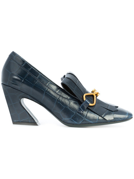 Mulberry women loafers leather blue shoes