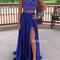 Blue sequin chiffon two pieces long prom dress, formal dress - 24prom