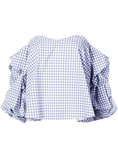 Caroline Constas - off-the-shoulder gingham print blouse with gathered sleeves - women - Cotton - M, Grey, Cotton