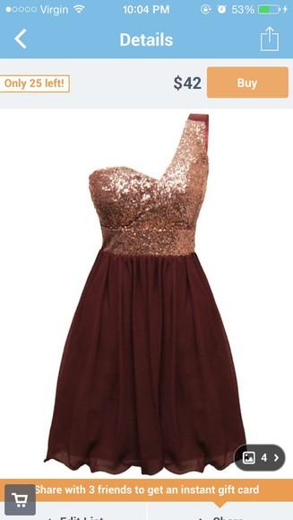 burgundy short sparkly one strap