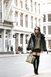 wendy's,lookbook,blogger,top,jacket,sweater,skirt,shoes,bag,sunglasses,jewels,winter outfits,celine bag,green sweater,green bag,thigh high boots,winter coat