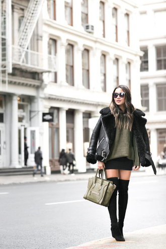wendy's lookbook blogger top jacket sweater skirt shoes bag sunglasses jewels winter outfits celine bag green sweater green bag thigh high boots winter coat