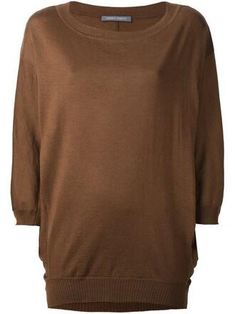 jumper loose knit women fit wool brown sweater