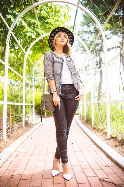 my blonde gal blogger jacket bag jewels blouse