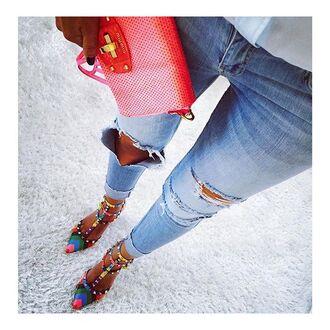 shoes miu miu miu miu bag jeans valentino shoes color pumps rainbow pumps ripped jeans blue ripped jeans valentino pumps colorful pumps faded blue ripped jeans