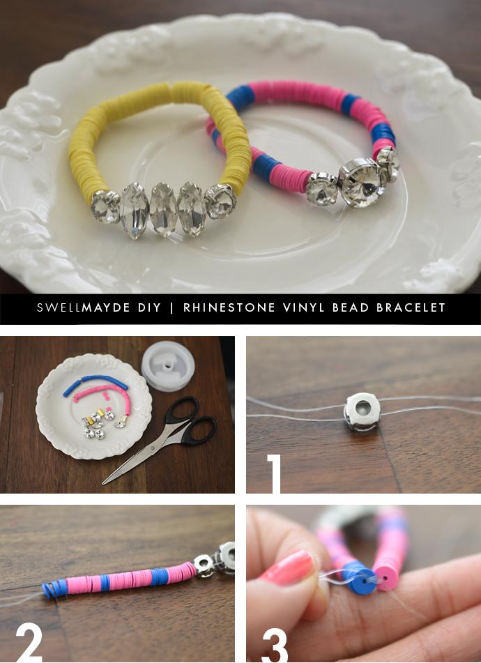swellmayde: DIY | RHINESTONE VINYL BEAD BRACELET
