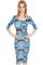 Three quarter sleeve aztec midi dress