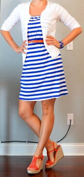 dress,blue and white stripe,bag
