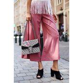 pants,tumblr,pink pants,wide-leg pants,palazzo pants,cropped pants,bag,mules,black heels,thick heel,block heels,gucci,gucci bag,dionysus