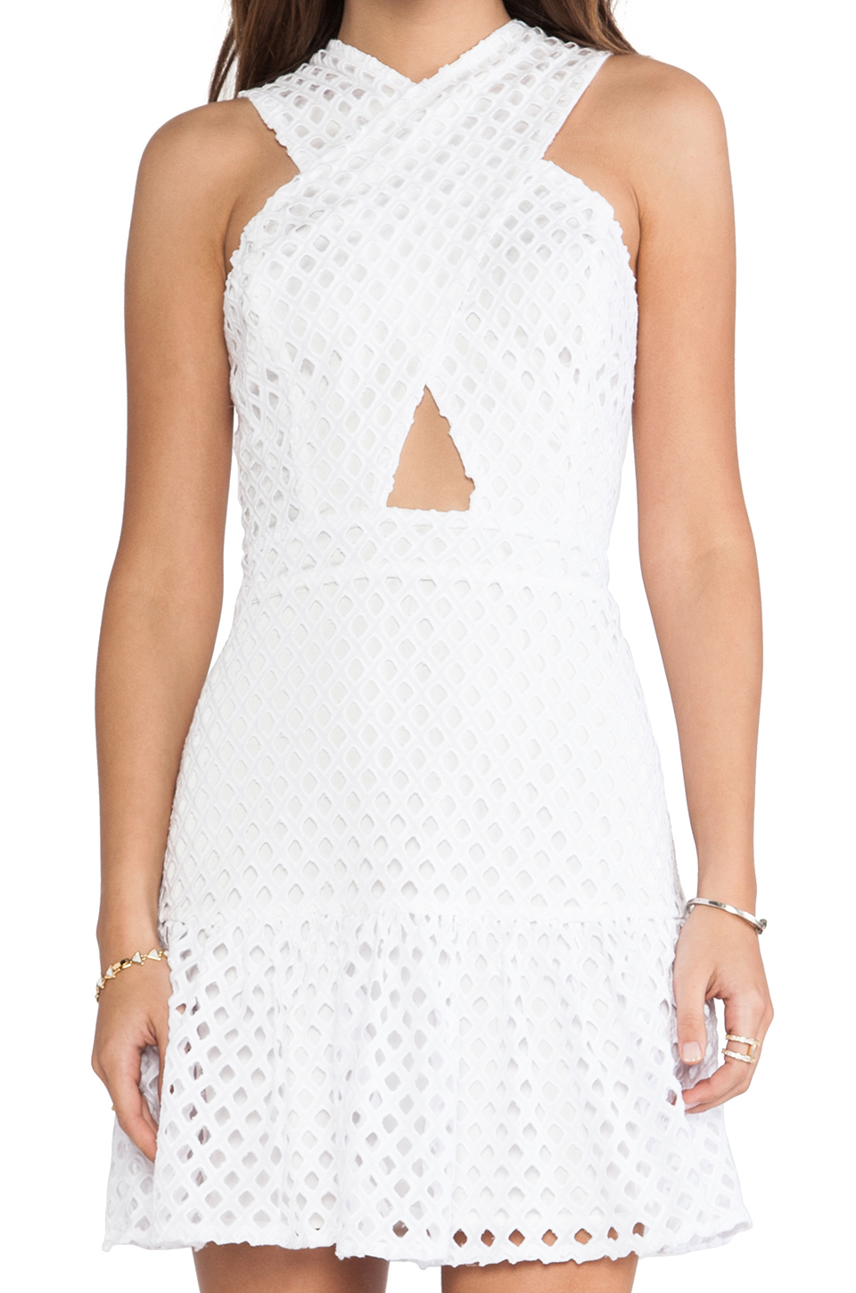 Line & Dot Crossover Neck Eyelet Dress in White from REVOLVEclothing.com