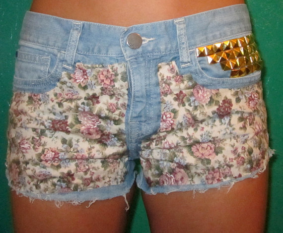 Floral High Waisted Jean Shorts on Wanelo