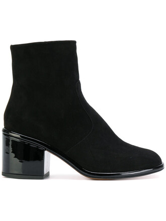 women boots ankle boots leather suede black shoes