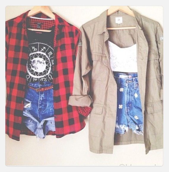 blouse red flannel shirt red flannel shirt shirt shorts crop tops jacket high waisted short military jacket