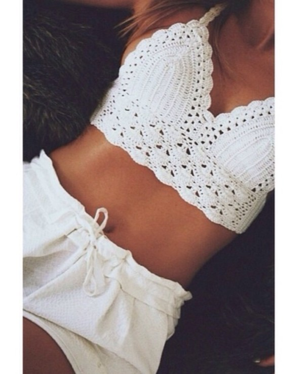 Crocheting Underwear : Tank top: crochet bralette, cream, lace bralette, underwear, crochet ...