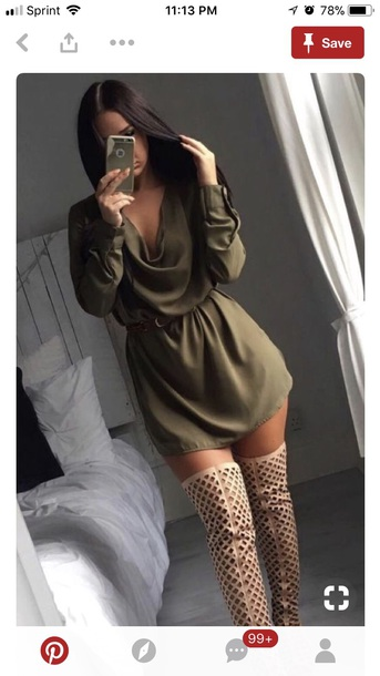 dress olive green long sleeve dress
