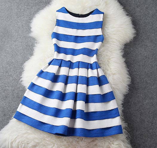 Blue And White Stripe Dress on Luulla