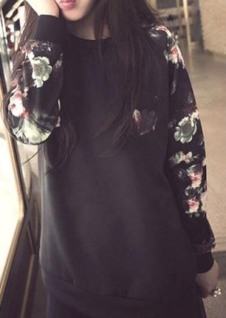 sweater crewneck crewneck hoodie pullover floral floral shirt