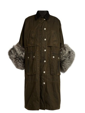 coat fur cotton black