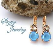 jewels,siggy jewelry,earrings,sky blue,blue,light blue,baby blue,rose gold,drop earrings,bridesmaids gift,wedding,drop lever back,swarovski,bling,sparkle,elegant,etsy,mothers day gift idea