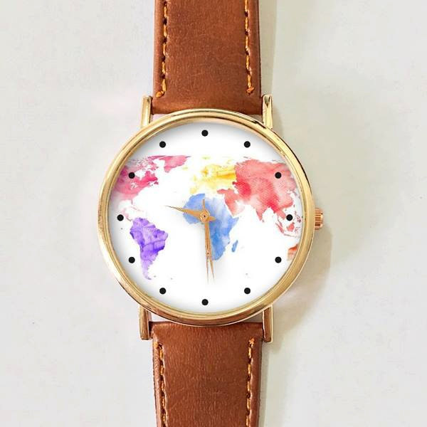 World map watercolor watch women watches mens watch leather world map watercolor watch women watches mens watch leather watch vintage style gold watch rose gold gumiabroncs Images