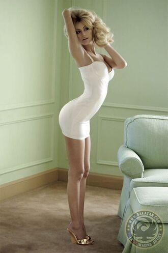 dress white dress bodycon sweetheart neckline short straps