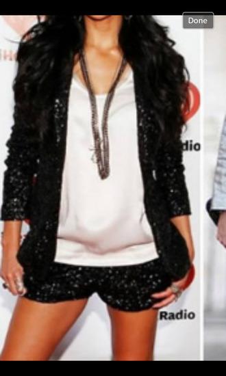 jacket black sequin outfit sequins fancy shorts blazer sequin jacket