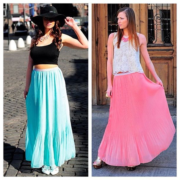 Skirt: maxi skirt, long skirt, pleated skirt, fashion, style ...
