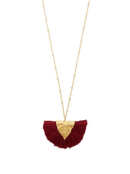 ELISE TSIKIS tassel necklace pendant burgundy jewels