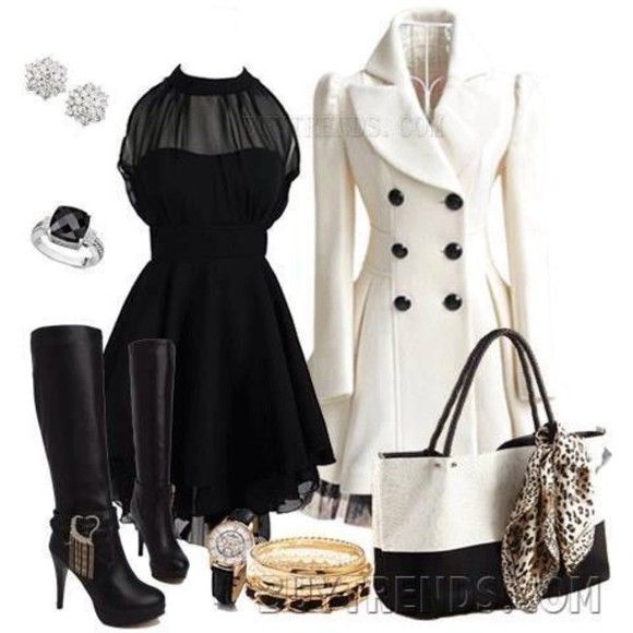 purse black outfit beige dress jacket boots high heels coat long