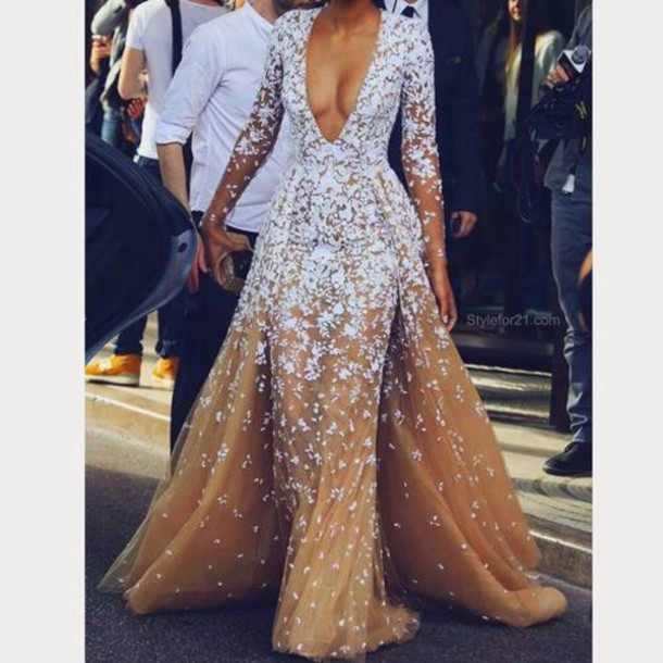 dress v neck plunging ombre prom prom dress long