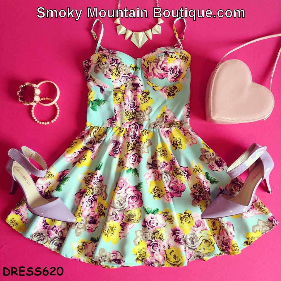 Pink & Yellow Rose Floral Retro Bustier Dress with Adjustable Straps - Size S/M BD 620 - Smoky Mountain Boutique