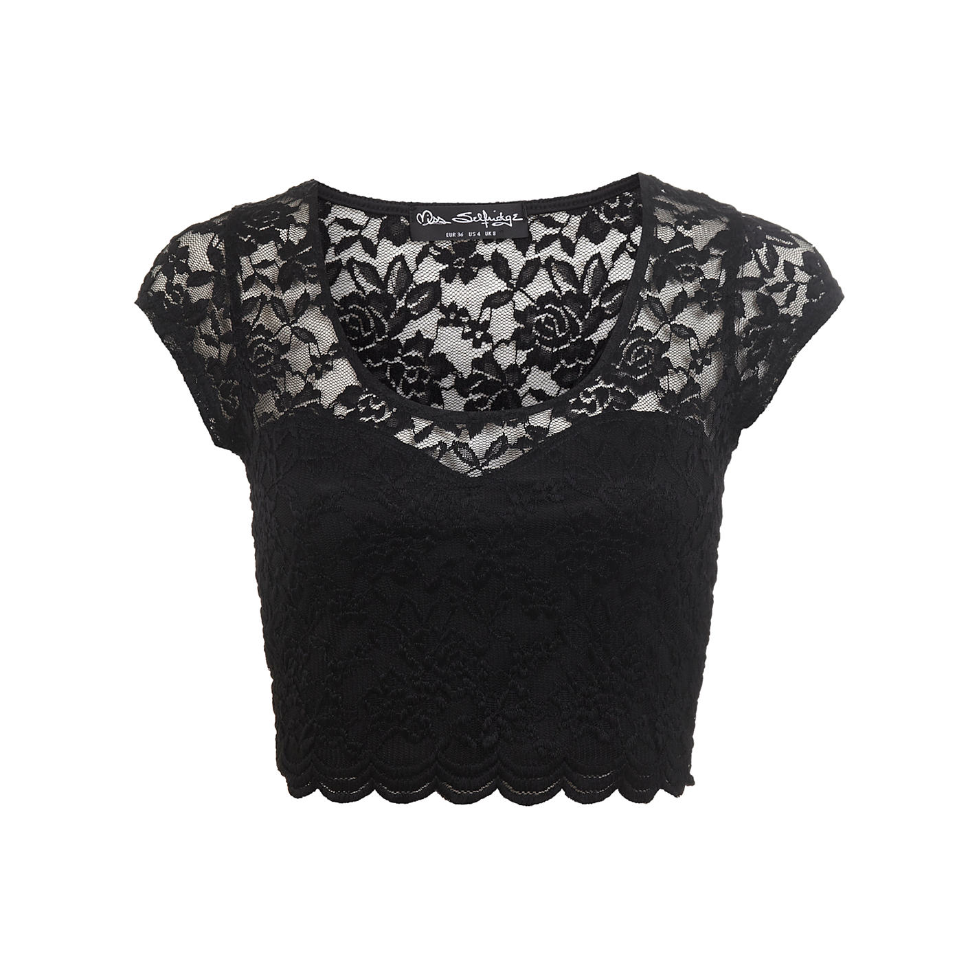 Buy Miss Selfridge Scallop Lace Crop Top, Black | John Lewis
